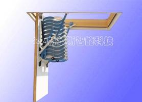 居家半自动伸缩楼梯 (蓝-白)